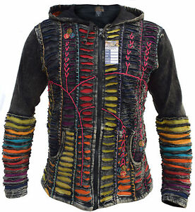 Funky-Jacket-Psychedelic-Gothic-Cotton-Light-Embroidery-Men-039-s-Elf-Pointed-Hoodie