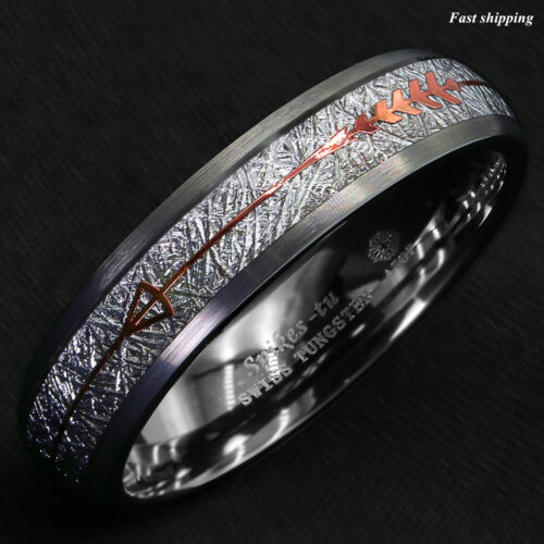 8//6mm Rock Gray Brushed Dome Tungsten Ring Silver Rose Gold Arrow ATOP Jewelry