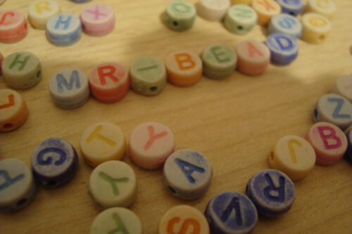Assorted Pastel Colours** **2 Full Sets of Acrylic Alphabet Beads