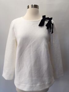 H4859 T M Velvet Sweatshirt Bow Medium Top crew Black J Double Ivory Shirt IqATvnfw