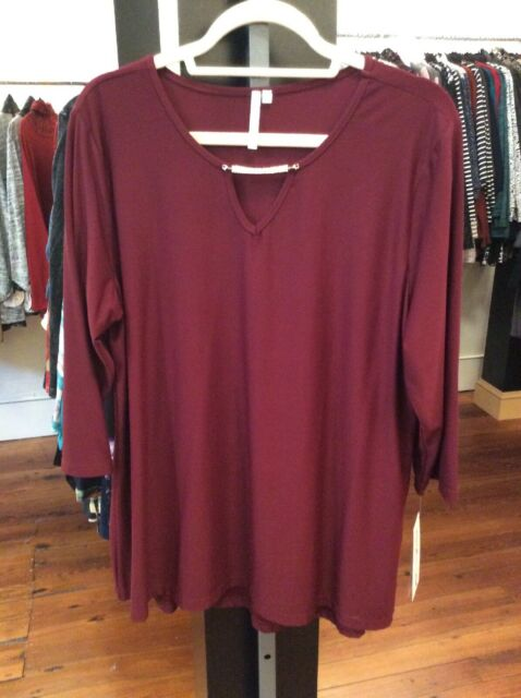 Lulu-B Xl Wine V Neck Top Removable Bling Upf 50 Retail $59 Free Shipping
