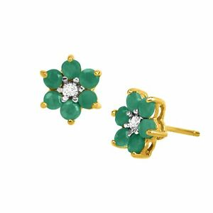 1-ct-Natural-Emerald-Flower-Earrings-with-Diamonds-18K-Gold-Plated-Silver