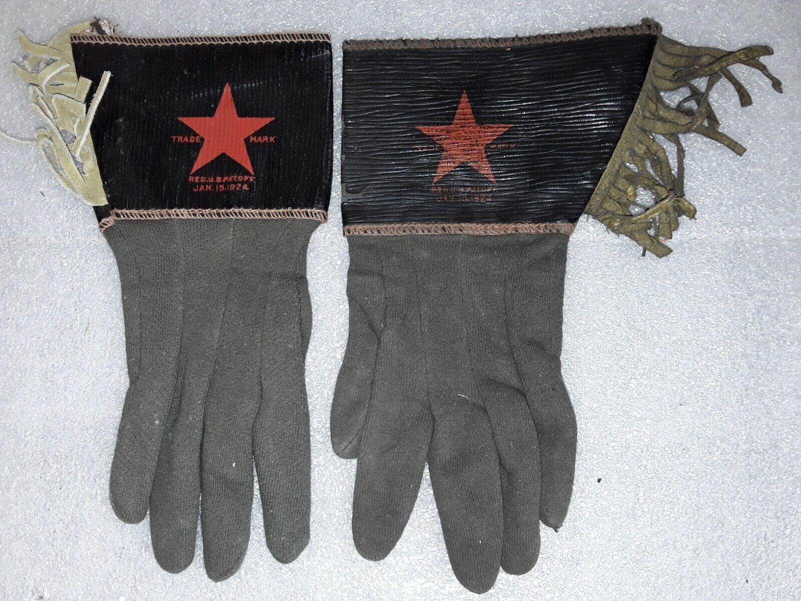 Vintage dated 1924 Cowboy Western tassled Gloves … - image 1