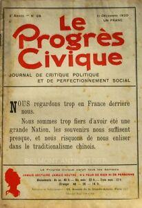 Belle Le Progrès Civique N°69 1920 - Journal De Critique Politique - Henri Dumay Rare à Tout Prix