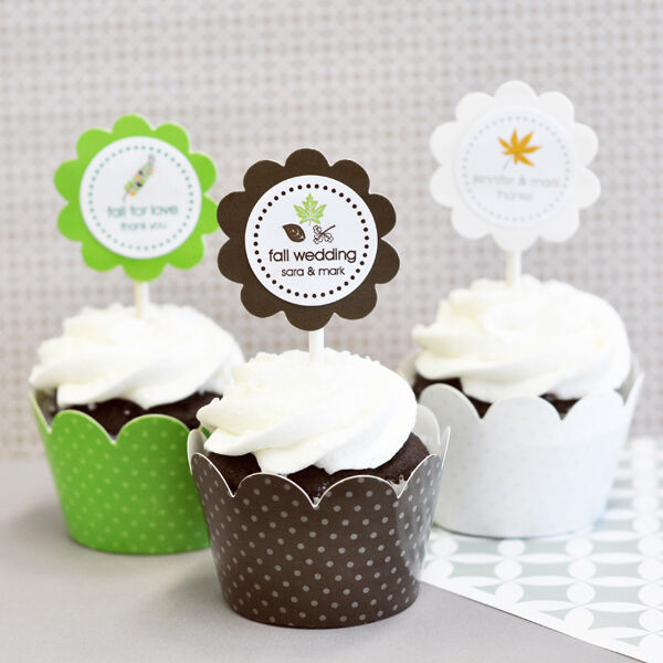 Personalized Fall Autumn Cupcake Wrappers & Toppers Bridal Wedding Favors