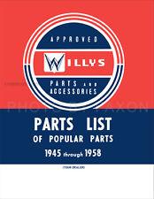 Jeep CJ2A CJ3A Popular Parts Book 1946 1947 1948 1949 1950 1951 CJ 2A 3A