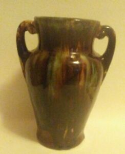 Vintage Antique 1930s Brush McCoy  Glaze Onyx Pottery Handled Vase 8""