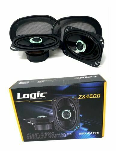 "4/"" x 6/"" 220 W 2 way Coaxial Speakers Adjustable tweeters Logic Sound lab ZX4600"