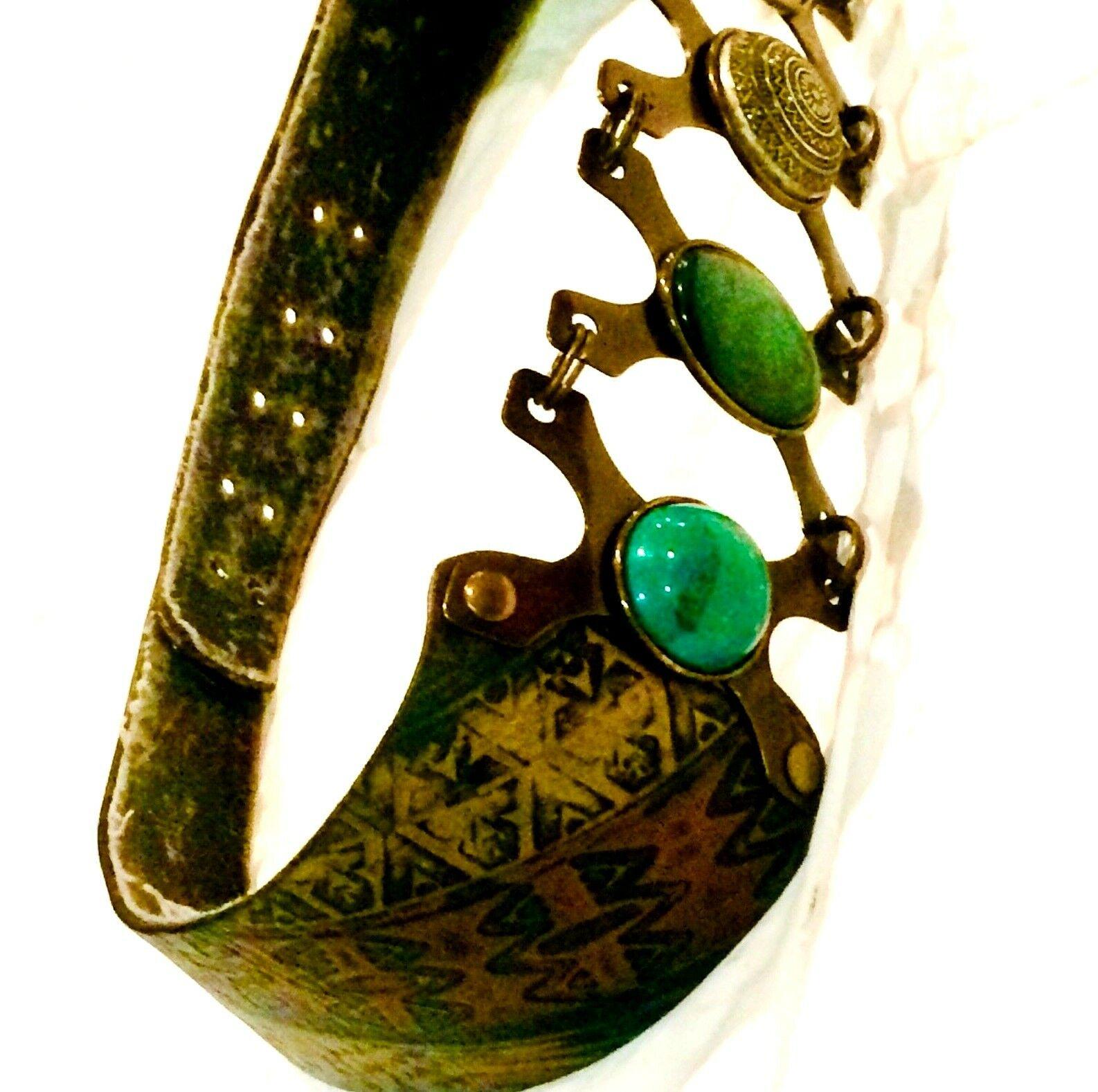LAISE ADZER Belt Handmade Leather Metal & Natural… - image 2