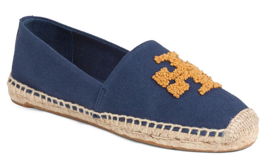 NIB TORY BURCH Elisa Logo Canvas Beads Espadrille Flat Size 10.5 bluee golden Fry