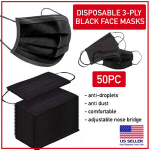 50-PCS-Black-Disposable-Face-Mask-Triple-Ply-Ear-Loop-Mouth-Cover