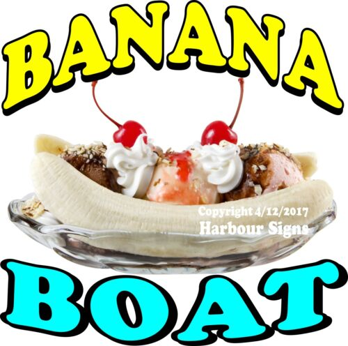Banana Boat DECAL Split Ice Cream Food Truck Concession Choose Your Size
