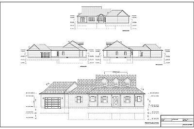 Full Set of single story 3 bedroom house plans 1,734 sq ft