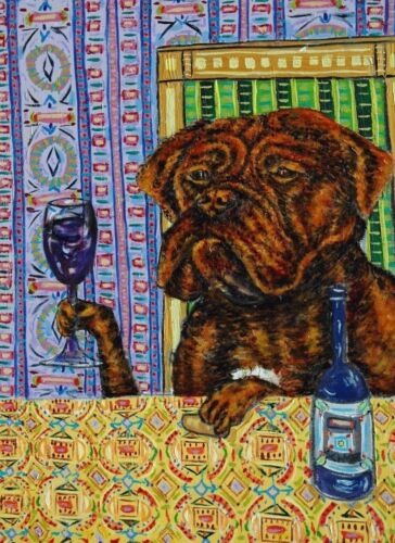 Dogue de Bordeaux french mastiff Signed dog art PRINT 13x19 coffee impressionism