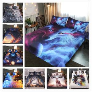 Floral-Lion-Wolf-Elk-Animal-Comforter-Bedding-Sets-Pillowcase-Duvet-Quilt-Cover