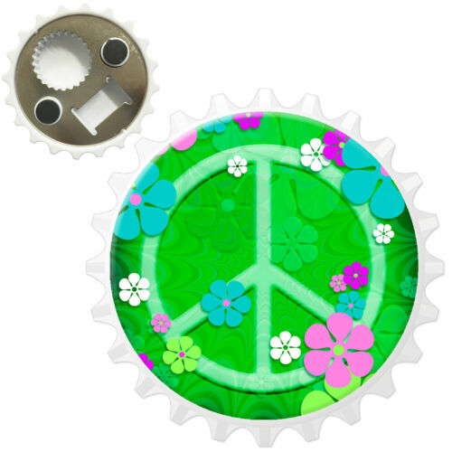 Green Hippy Flower Power Peace Sign Bottle Opener Fridge Magnet