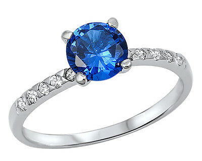 New 925 Sterling Silver Solitaire Blue Sapphire CZ Ring