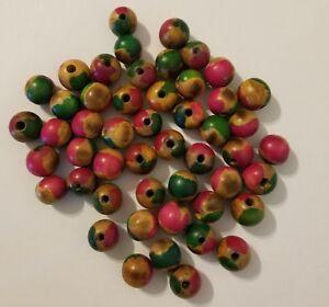 "Lot of 50 Vintage 22mm 3//4/"" Round Black Wood Macrame Craft Jewelry Beads"