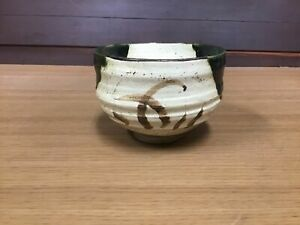 Y0903-CHAWAN-Oribe-ware-signed-tea-ceremony-Japanese-pottery-antique-bowl-Japan
