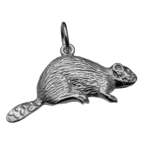 LOOK Canada Nickel Beaver Pendant Charm Real Genuine solid Sterling Silver .925