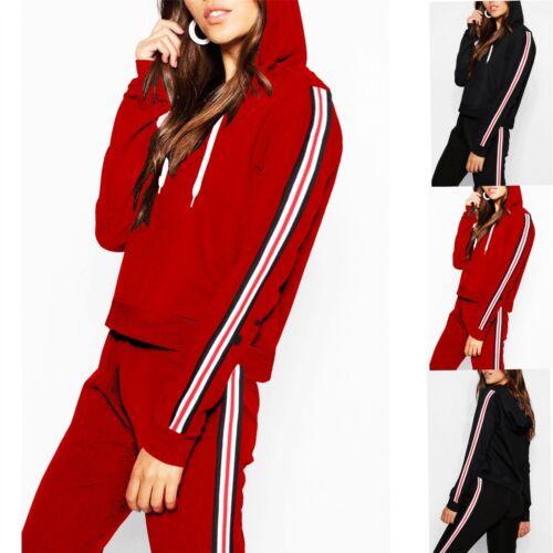 Femme Rayures sur les côtés à manches longues à capuche à capuche Pullover Sweater Femme Sweat