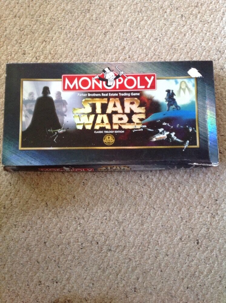 Pre Owned Star Wars Monopoly, Classic Trilogy Edition.  9 Pewter Tokens
