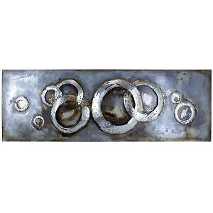 wandbild metallbild handarbeit 3d metall modern design kunst ringe silber deko ebay. Black Bedroom Furniture Sets. Home Design Ideas