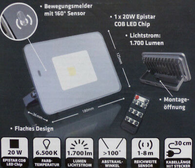 LED Strahler 20 W mit Bewegungsmelder IP65 Einstellung über Fernbedienung / NEU!