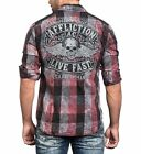 AFFLICTION Mens Embroidered Button Down Shirt NIGHT RIDE Biker UFC Roar $88