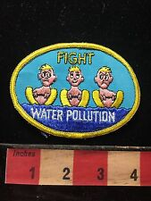 Vintage Rare & Funny FIGHT WATER POLLUTION Patch ~ Bathroom Humor Water Ski 72K5
