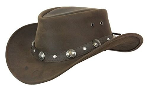 3/'/' brim and Crushable New Conner Buffalo Nickel leather hat with band