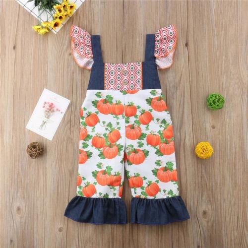 Toddler Baby Kids Girls Ruched Halloween Pumpkin Print Dress Sister Clothes Set