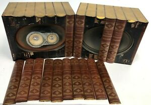 FOR-PARTS-Vintage-Silvertone-Original-Pair-Hidden-Books-Bookshelf-Speaker-Boxes