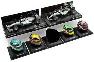 6x-1-8-1-43-Minichamps-Spark-Lewis-Hamilton-Mercedes-casco-2013-2015-2016