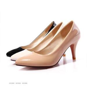 Women-039-s-Comfort-High-Heels-Stilettos-slip-on-casual-party-Shoes-plus-size