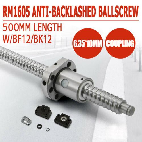 1 set BK//BF12 ANTI BACKLASH BALLSCREW RM1605-500MM-C7 END MACHINED Nut Housing