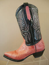Corral Boots Pink Genuine Lizard Black Leather Cowboy Western Women's Size 7.5 M