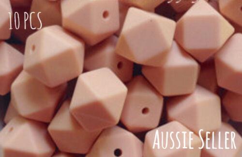 10 silicone beads BUBBLEGUM PINK 17mm hexagon BPA free supplies DIY teething MP