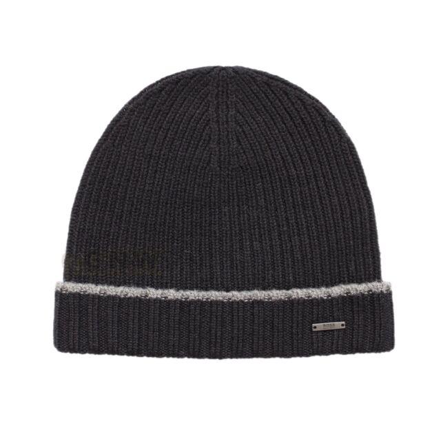 Hugo Boss Beanie Hat Mens Fati 01 Virgin Wool Black 100 Genuine for ... 2d7aca57bdde