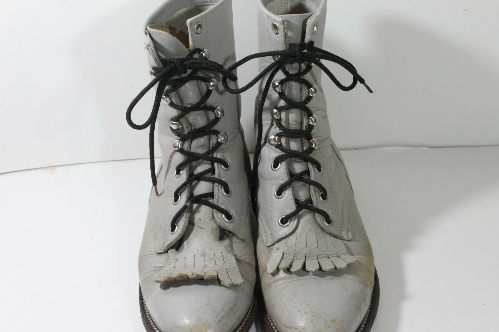 Cowtown Hand Made in Mexico Leather Lace Kiltie Cowboy Boots Womens Size 6D