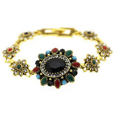 Queen Luxury Vintage Style Black Oval Blue Red Green Antique Gold Bracelet BB186