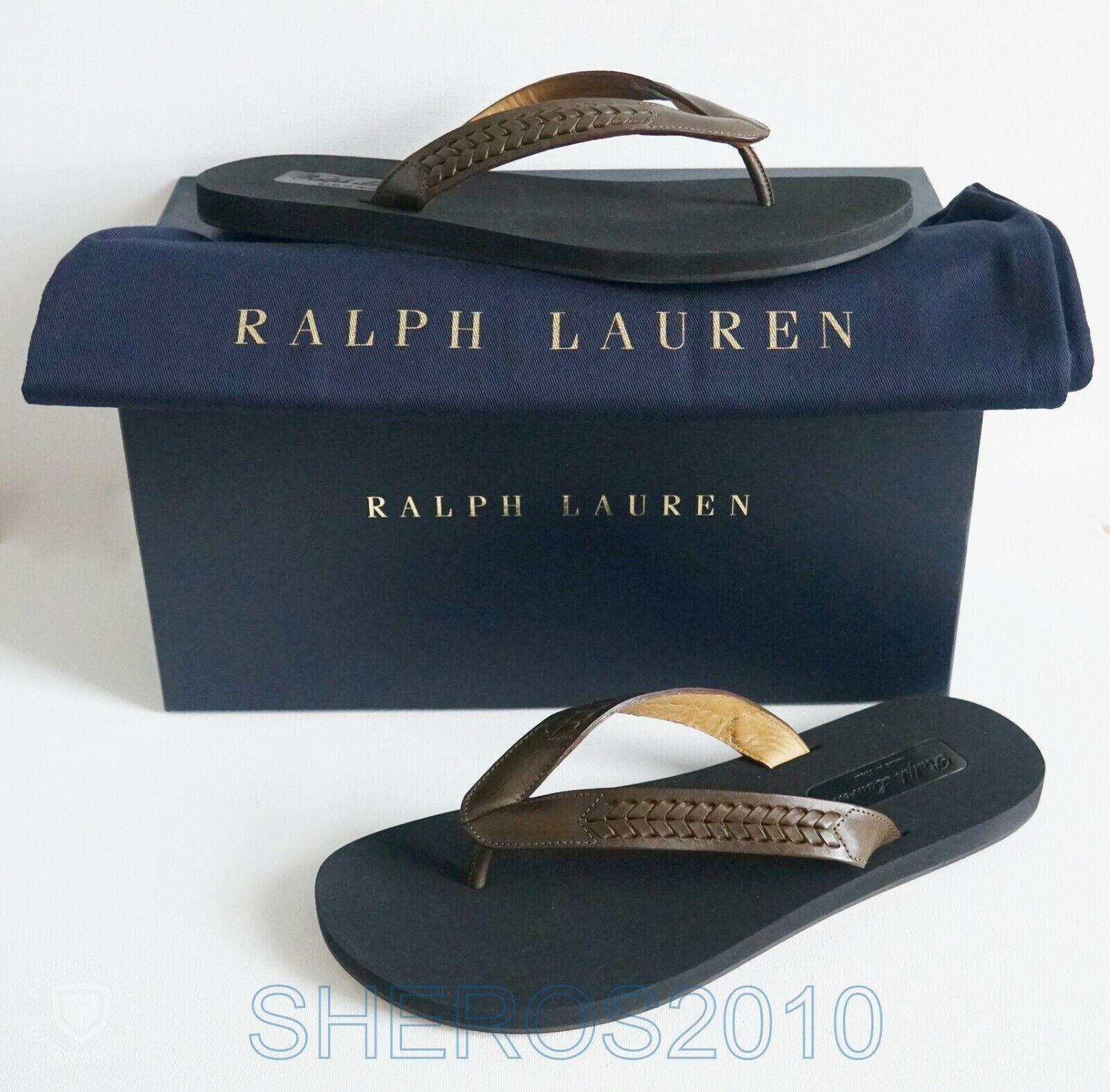 RALPH LAUREN púrpura LABEL VACHETTA Leather Thong Sandals zapatos US-7 EUR-40