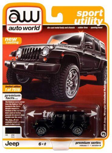 Auto World Premium 2018 Jeep Wrangler Unlimited Rubicon Black 1//64 AWSP033B