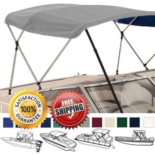 "W// BOOT /& REAR SUPPORT POLES BOAT BIMINI TOP COVER 3 BOW 72/""L 36/""H 73/""-78/""W"