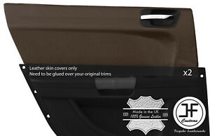 BROWN-REAL-LEATHER-2X-REAR-DOOR-CARD-TRIM-COVER-FOR-CHRYSLER-300C-2005-2011