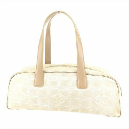 cc9e328041920f Chanel Hand bag New travel line Beige Canvas Leather Woman Authentic Used  T8599