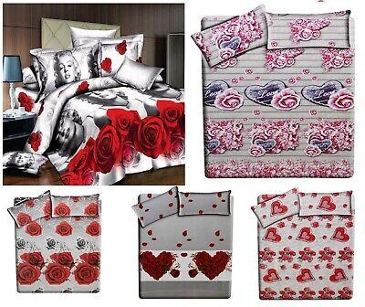 Set Completo Lenzuola Matrimoniale 3d Con Angoli Maxi Matrimoniali Letto Stampa Ebay