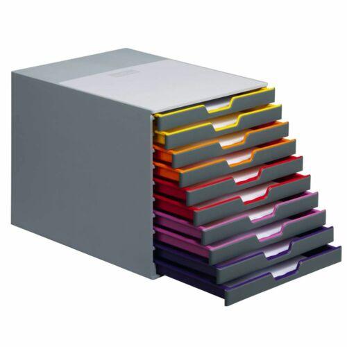 DURABLE Schubladenbox VARICOLOR® dunkelgrau mit bunten Farblinien DIN C4
