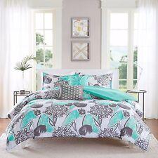 Full/Queen 5Pc Comforter Pillow Sham Bed Set Aqua Mint Green Gray Modern Florals
