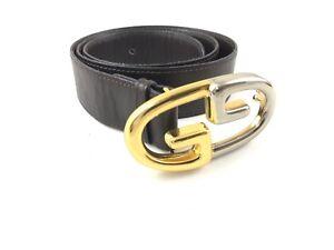 a basso prezzo c9ba4 87f75 Dettagli su Gucci Cintura Belt Leather Marrone GG Usata Buone Condizioni  Originale Vintage!!